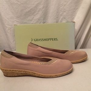 Grasshoppers Shellie stone canvas wedges size 10M